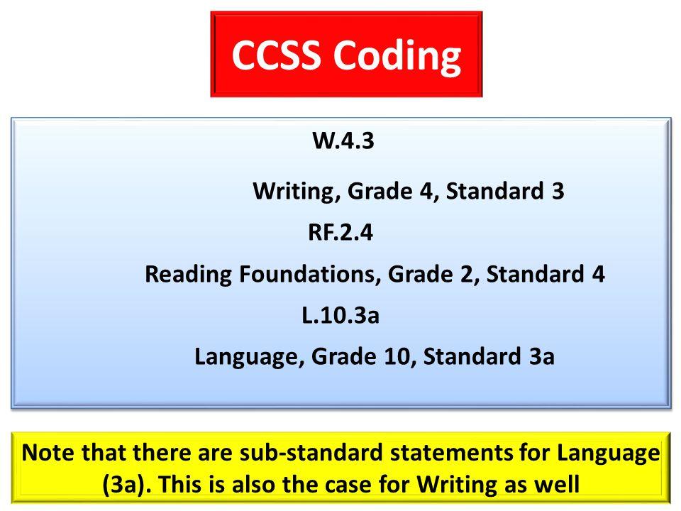 CCSS Coding W.4.3 Writing, Grade 4, Standard 3 RF.2.4