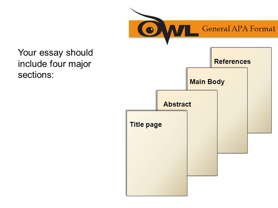 Your essay should include four major sections: General APA Format