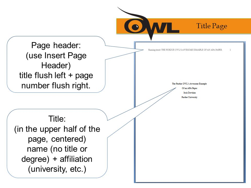 (use Insert Page Header) title flush left + page number flush right.