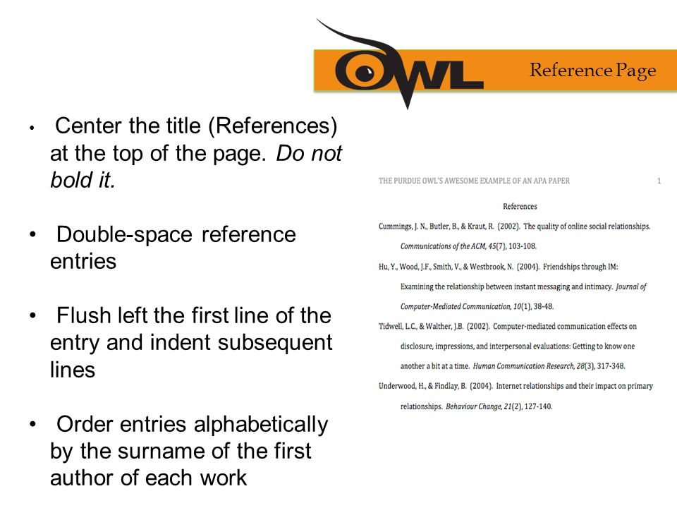 Double-space reference entries