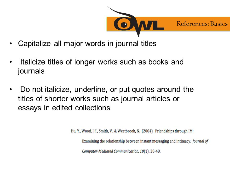 Capitalize all major words in journal titles