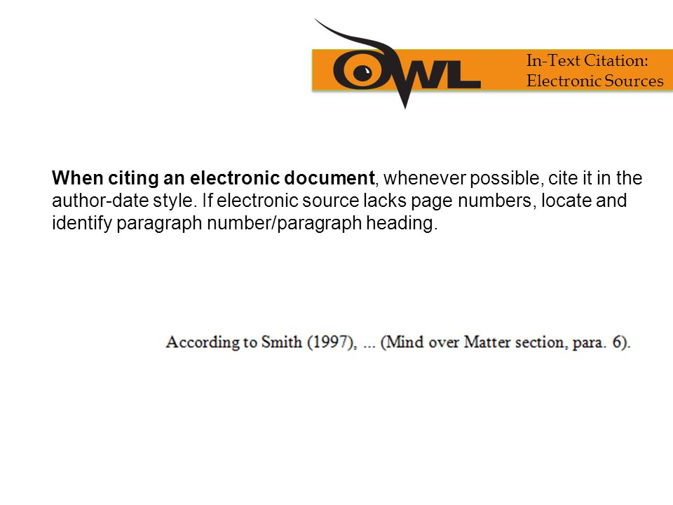 In-Text Citation: Electronic Sources.