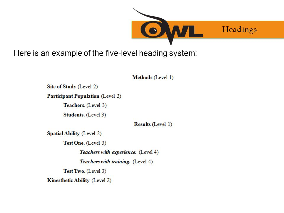 Here is an example of the five-level heading system: