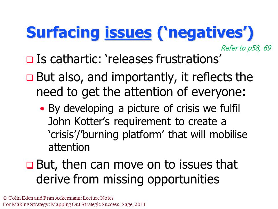 Surfacing issues ('negatives')