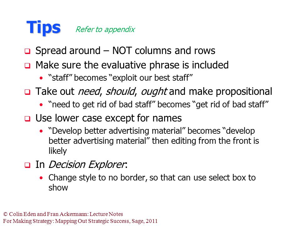 Tips Spread around – NOT columns and rows