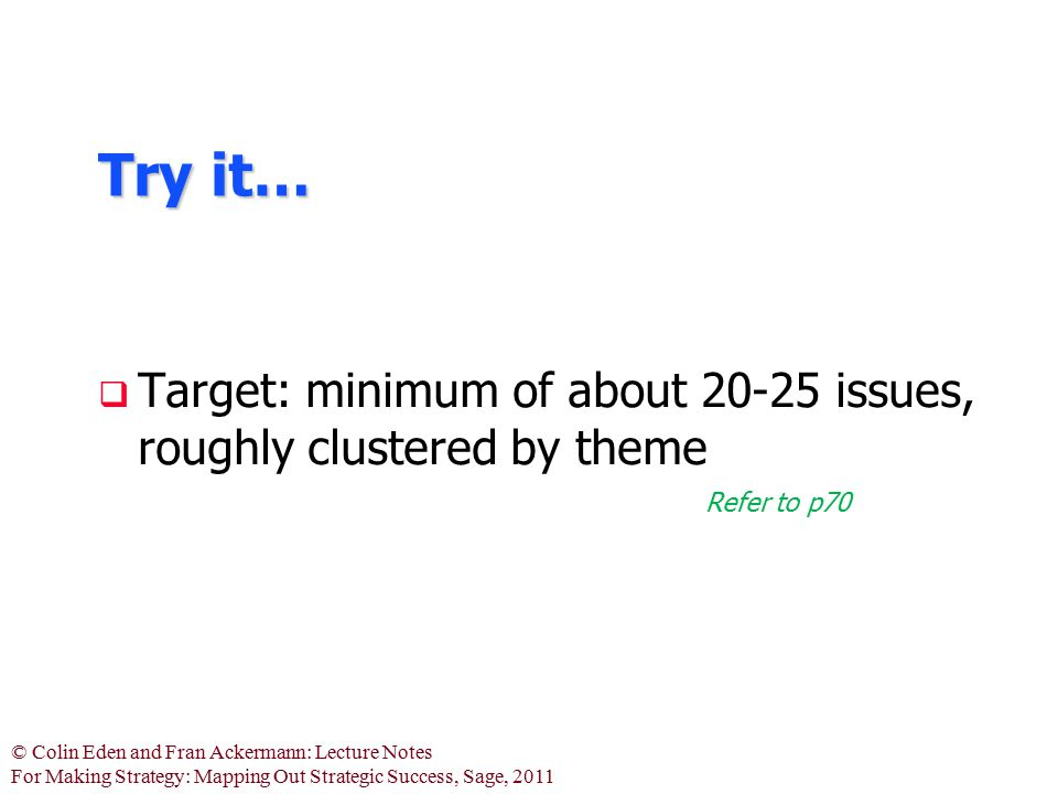 Try it… Target: minimum of about 20-25 issues, roughly clustered by theme Refer to p70