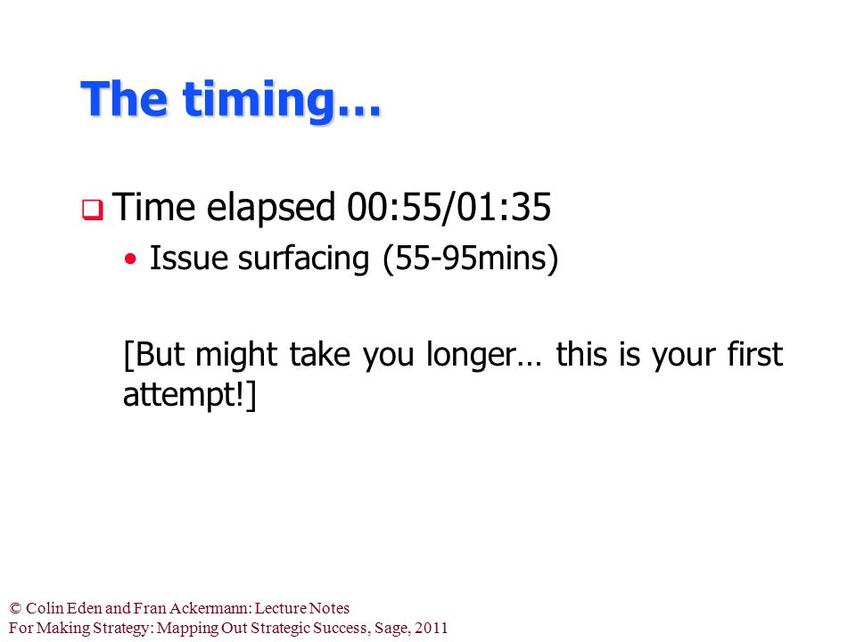 The timing… Time elapsed 00:55/01:35 Issue surfacing (55-95mins)