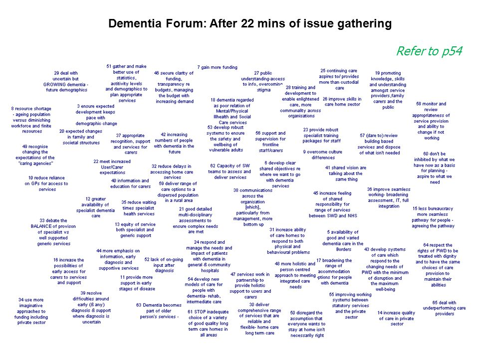Dementia Forum: After 22 mins of issue gathering