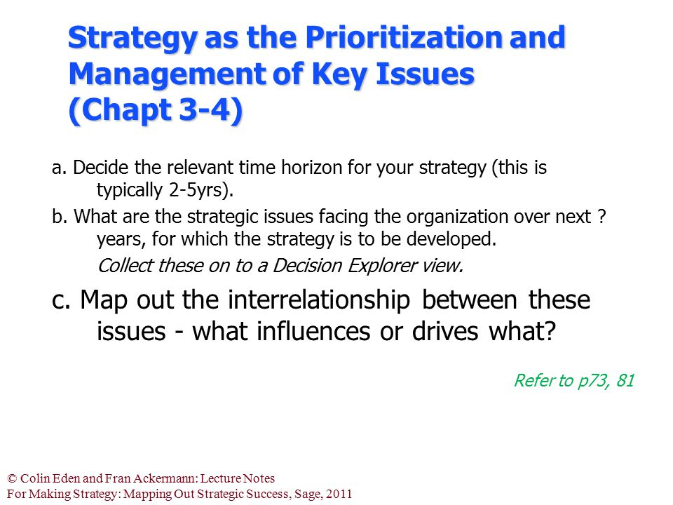 Strategy as the Prioritization and Management of Key Issues (Chapt 3-4)