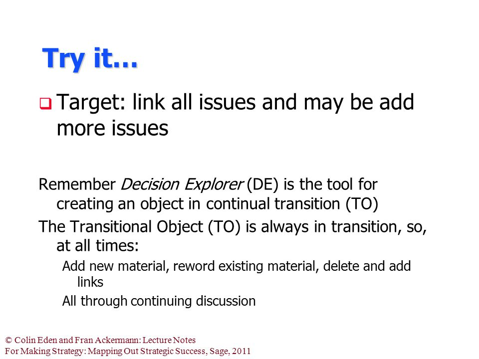 Try it… Target: link all issues and may be add more issues