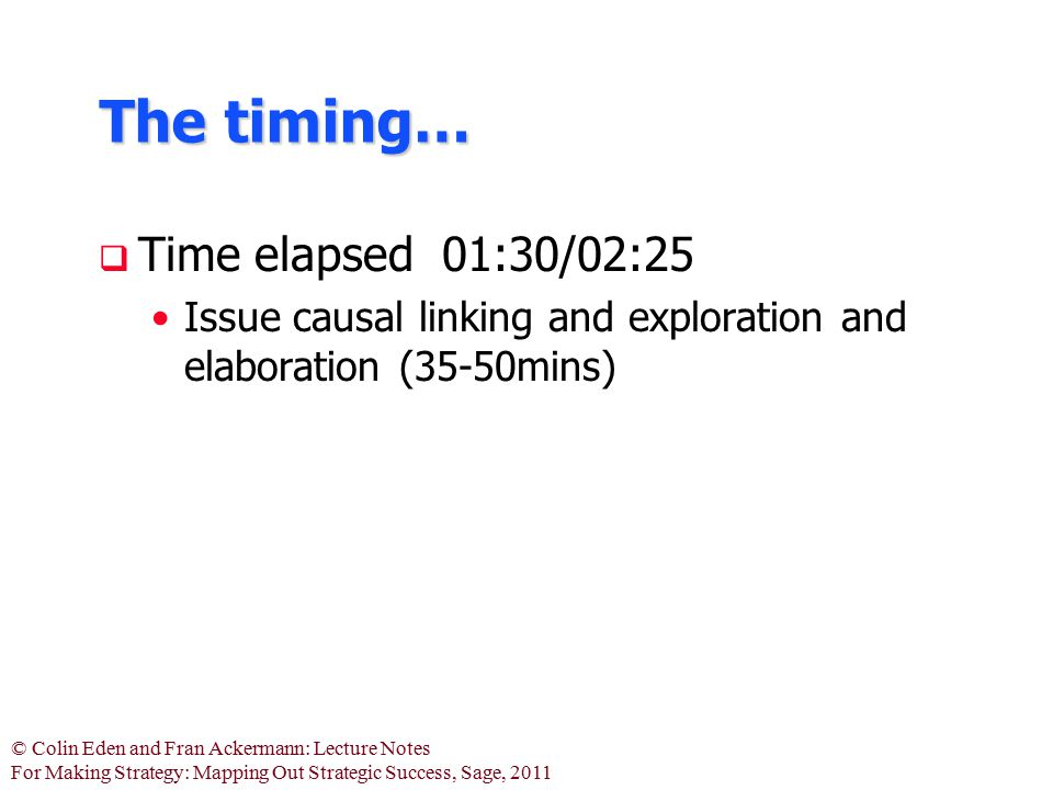 The timing… Time elapsed 01:30/02:25