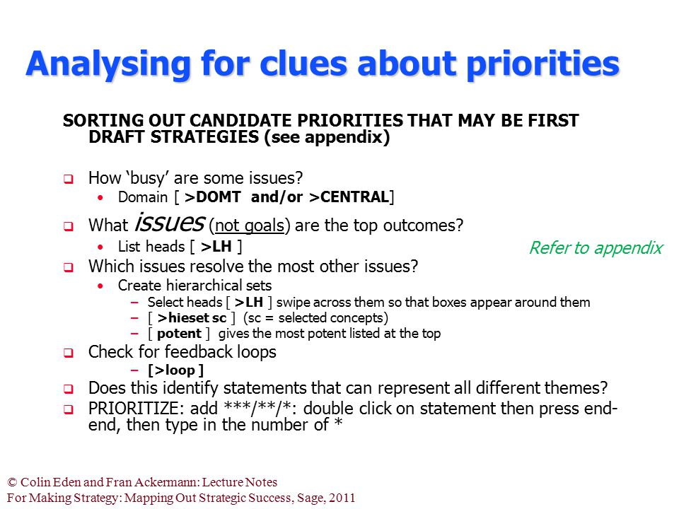 Analysing for clues about priorities