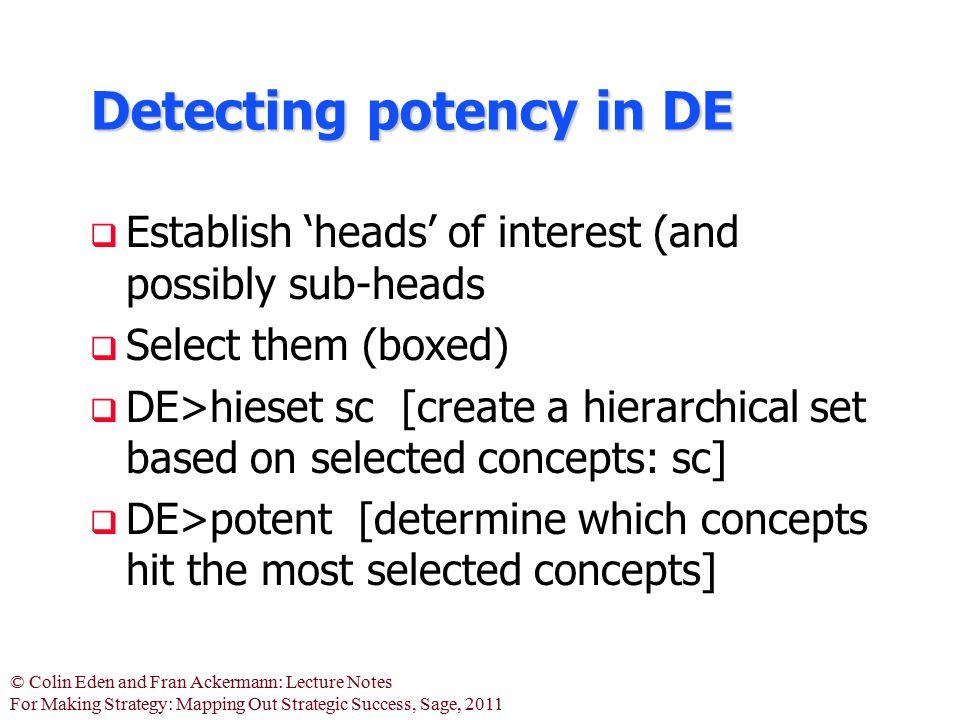 Detecting potency in DE