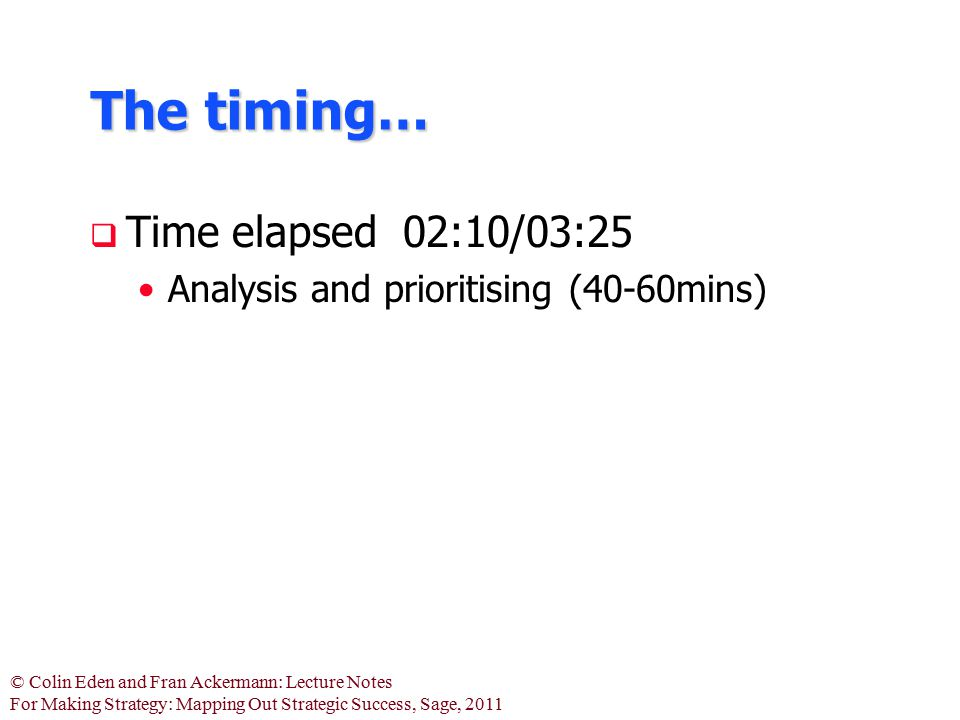 The timing… Time elapsed 02:10/03:25