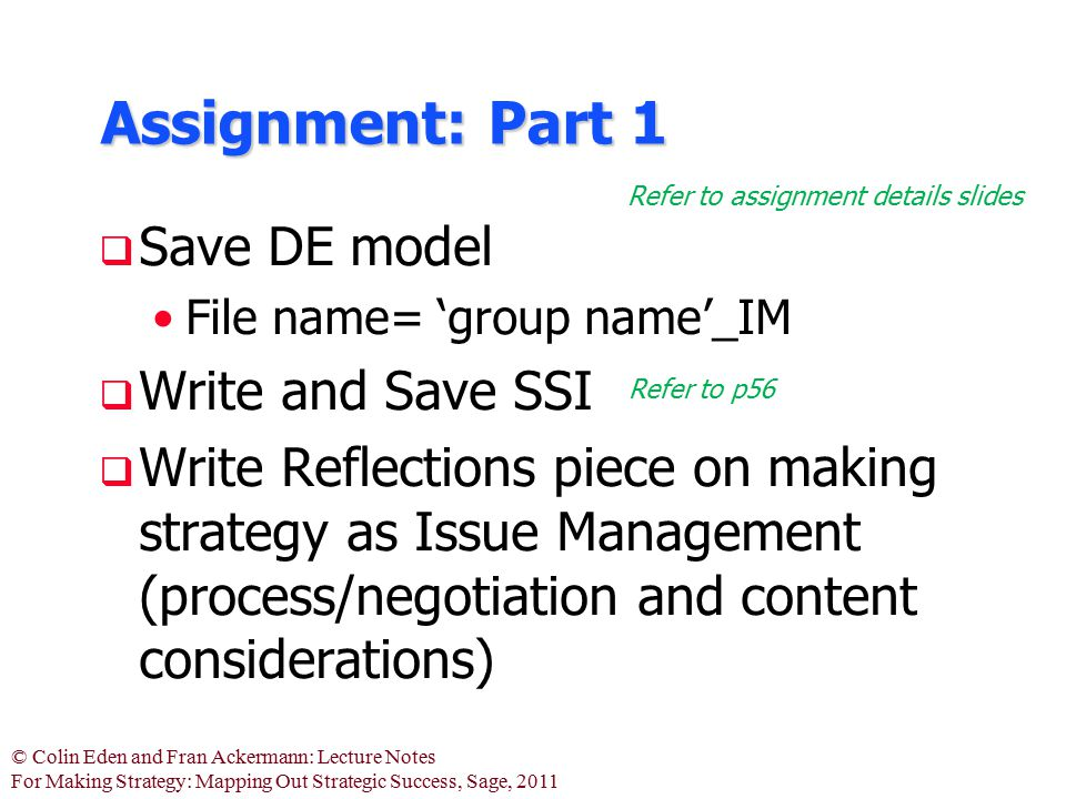 Assignment: Part 1 Save DE model Write and Save SSI