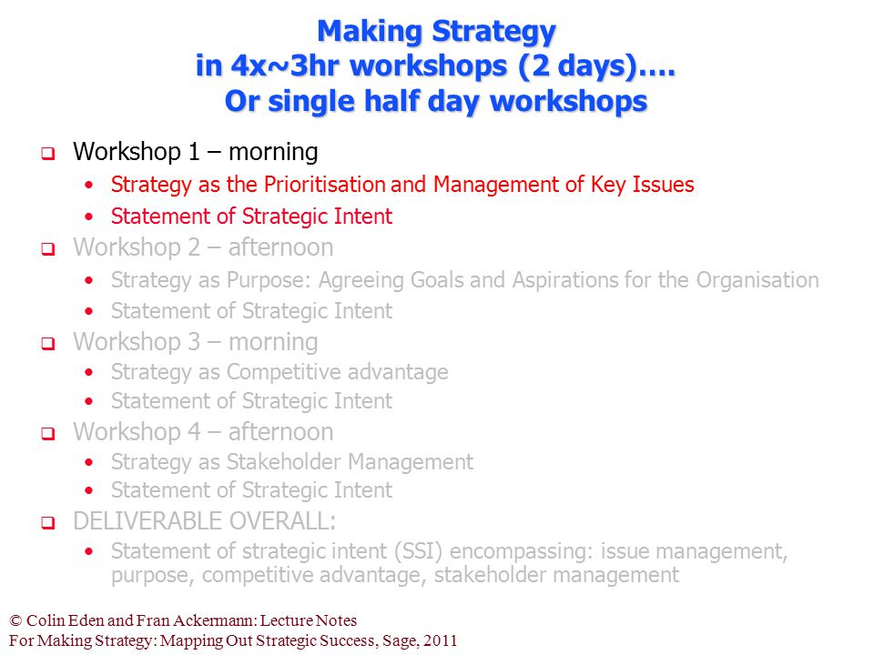 Making Strategy in 4x~3hr workshops (2 days)…