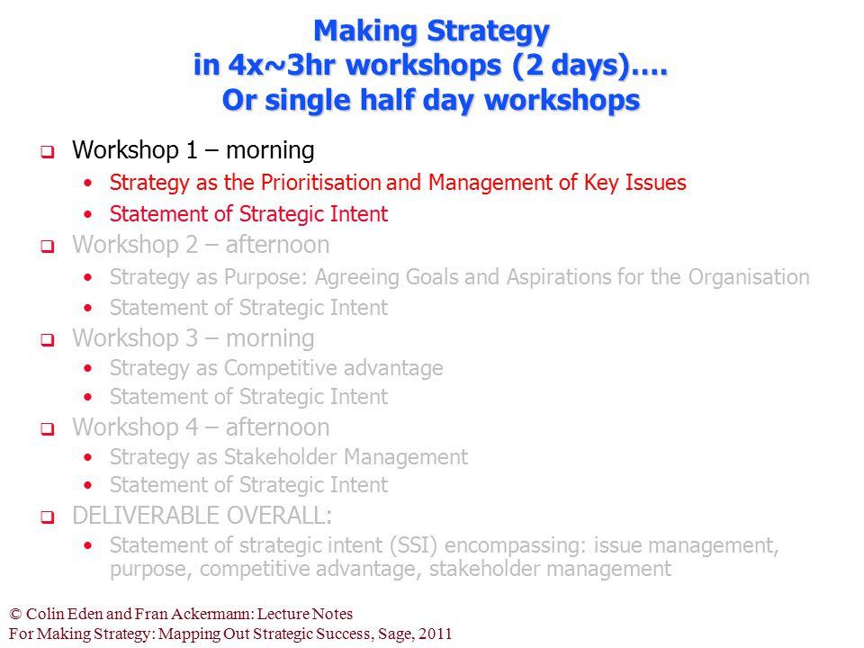 Making Strategy in 4x~3hr workshops (2 days)…