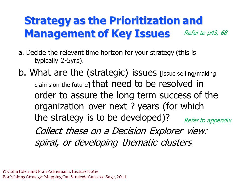 Strategy as the Prioritization and Management of Key Issues