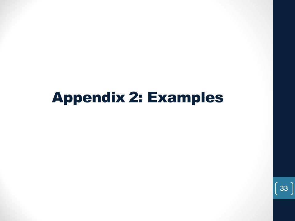 Appendix 2: Examples
