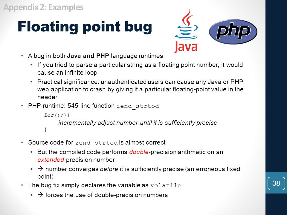 Floating point bug Appendix 2: Examples