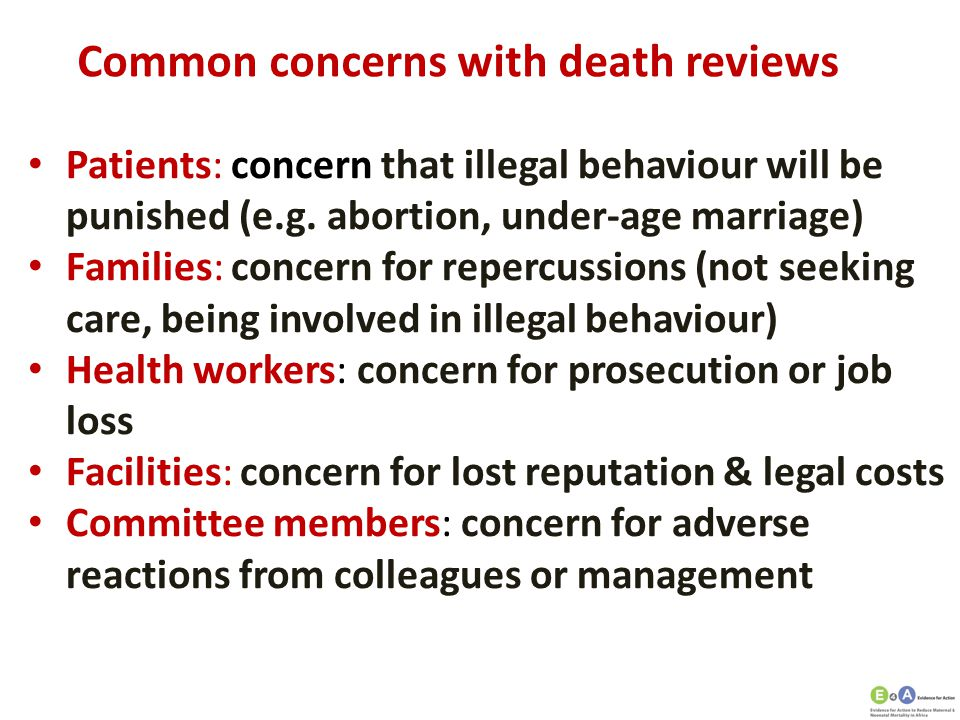 Common concerns with death reviews