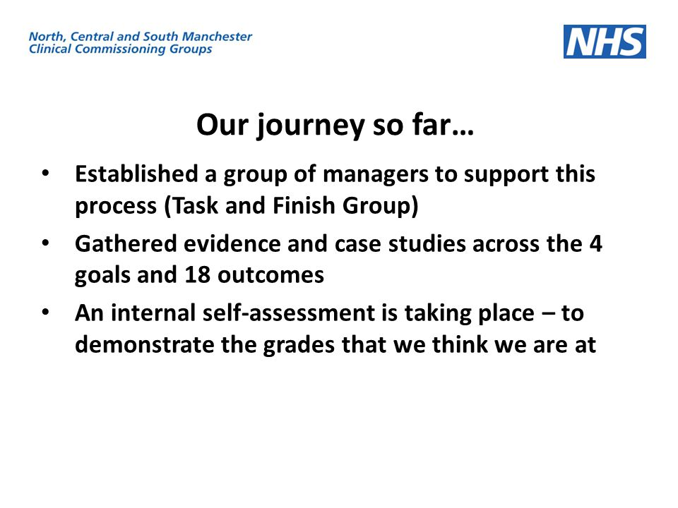 Our journey so far… Established a group of managers to support this process (Task and Finish Group)