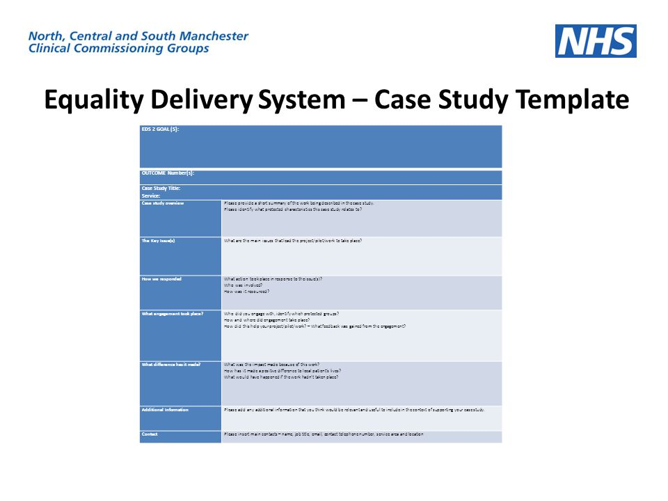 Equality Delivery System – Case Study Template