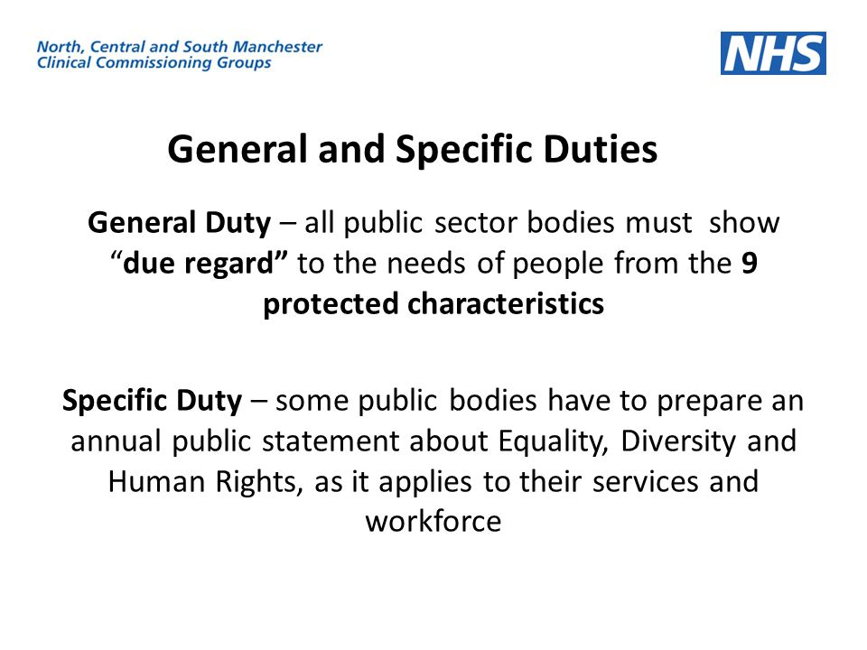 General and Specific Duties