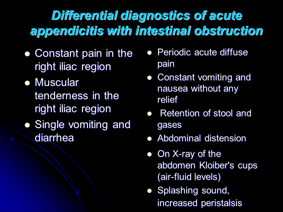 Differential diagnostics of acute appendicitis with intestinal obstruction