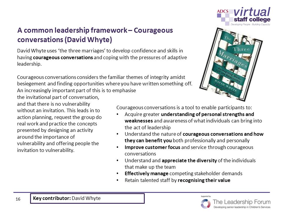 A common leadership framework – Courageous conversations (David Whyte)