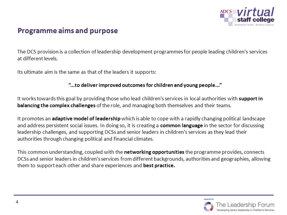 Programme aims and purpose