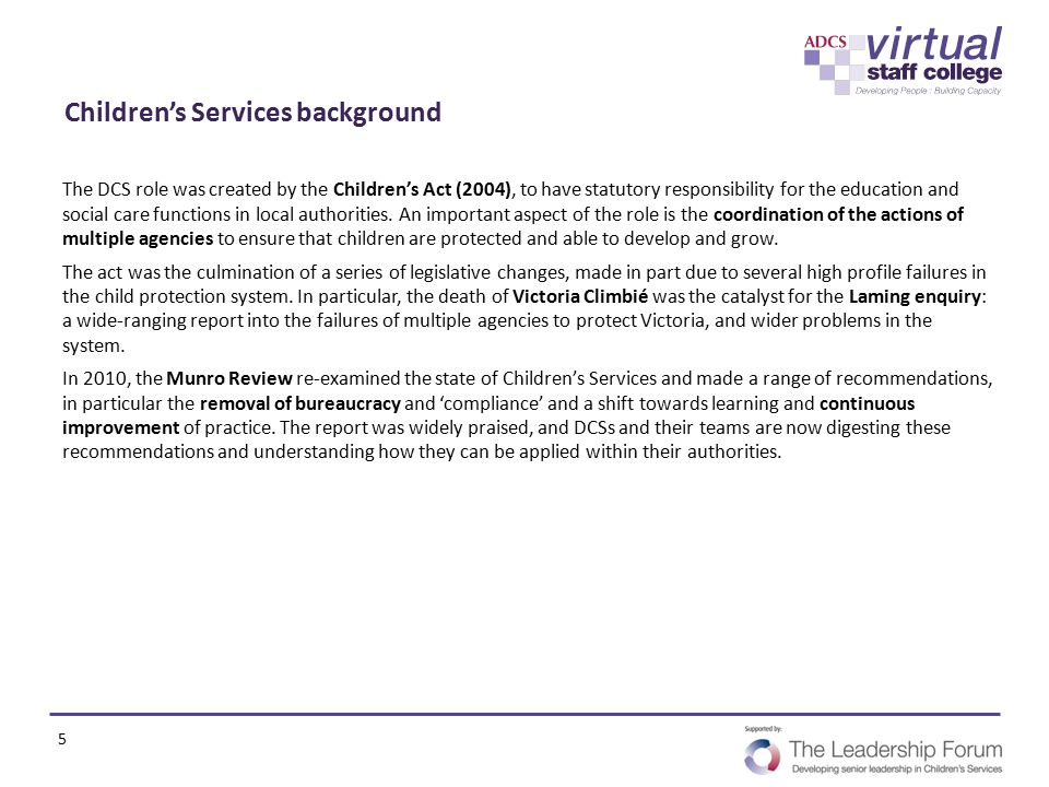 Children's Services background
