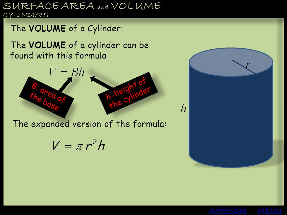 h: height of the cylinder