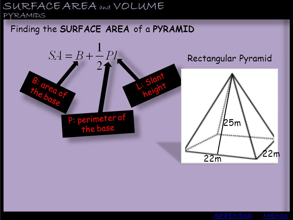 P: perimeter of the base