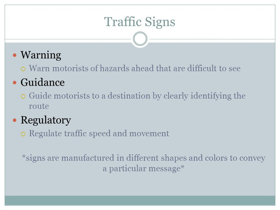 Traffic Signs Warning Guidance Regulatory