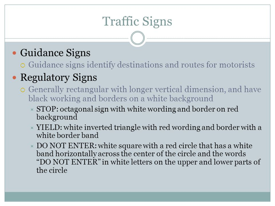 Traffic Signs Guidance Signs Regulatory Signs