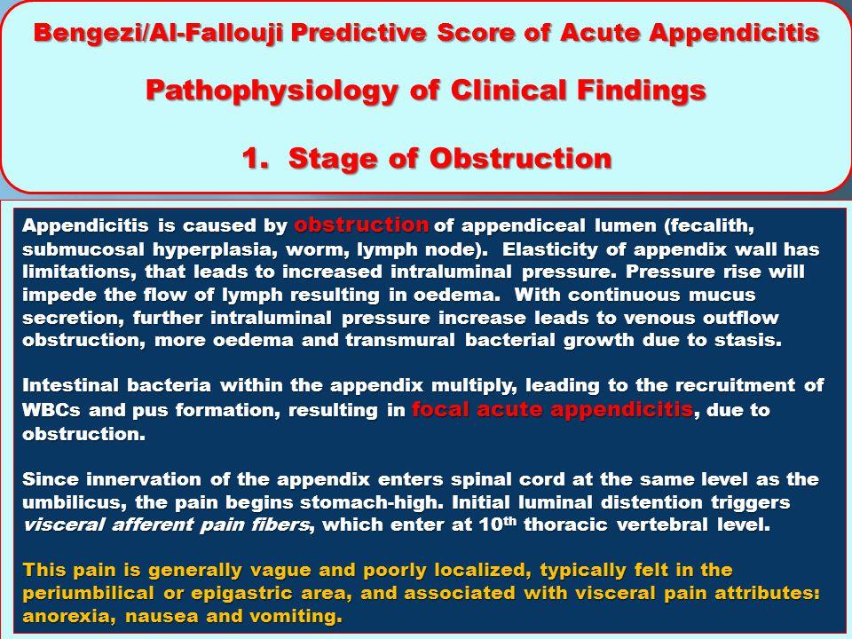 Bengezi/Al-Fallouji Predictive Score of Acute Appendicitis Pathophysiology of Clinical Findings