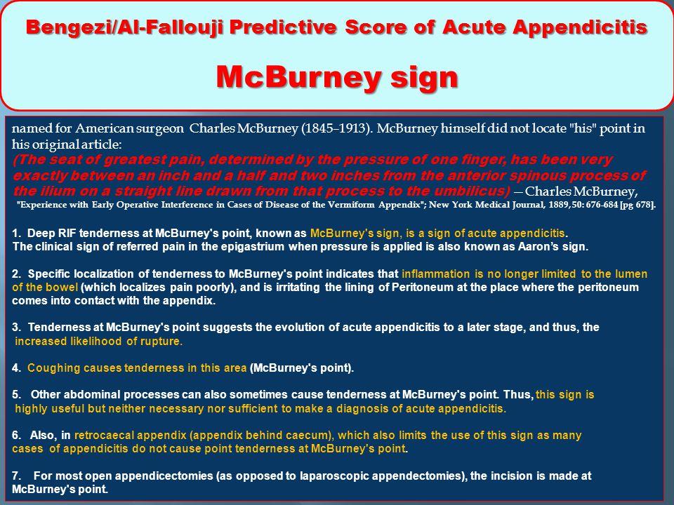 Bengezi/Al-Fallouji Predictive Score of Acute Appendicitis McBurney sign