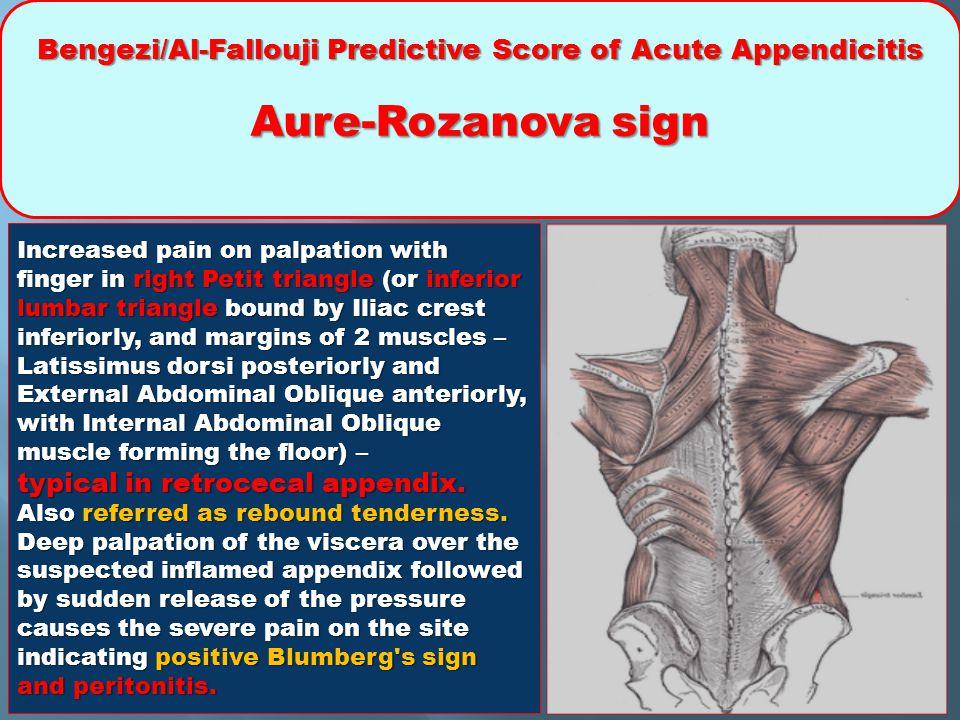 Bengezi/Al-Fallouji Predictive Score of Acute Appendicitis Aure-Rozanova sign