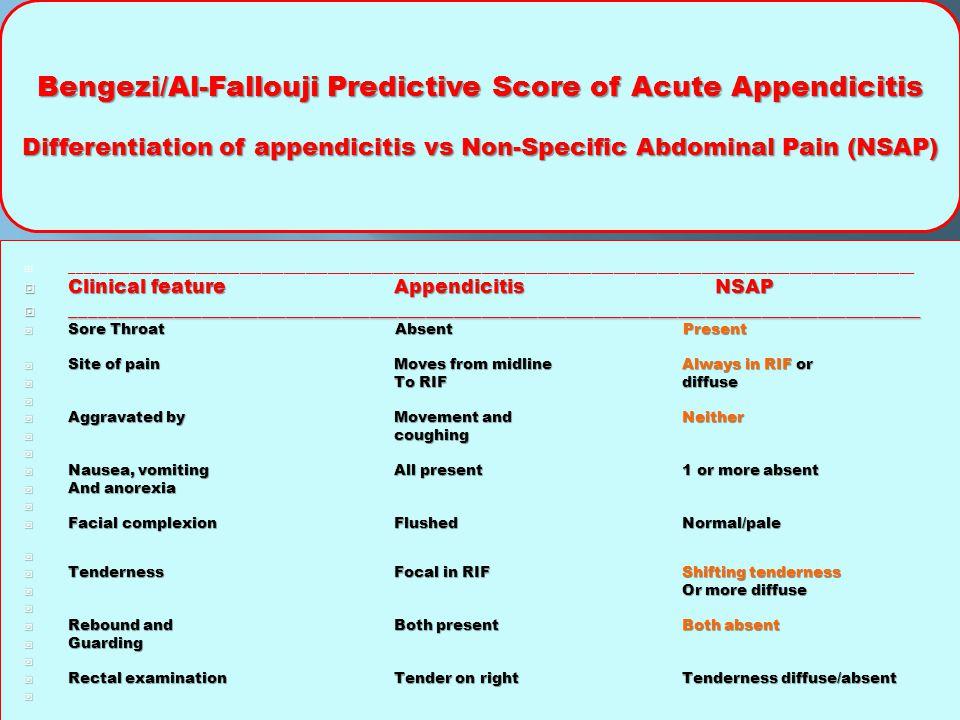 Bengezi/Al-Fallouji Predictive Score of Acute Appendicitis Differentiation of appendicitis vs Non-Specific Abdominal Pain (NSAP)