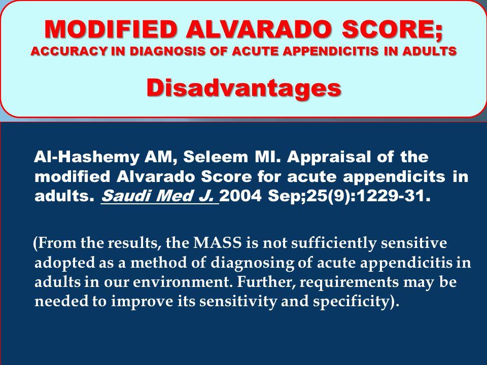MODIFIED ALVARADO SCORE;