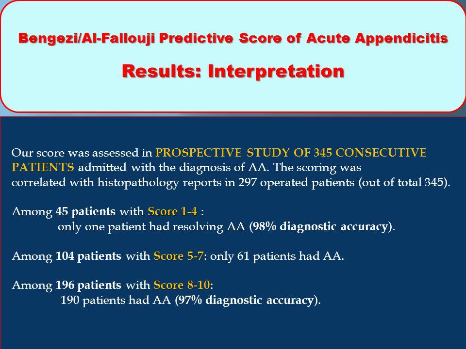 Bengezi/Al-Fallouji Predictive Score of Acute Appendicitis Results: Interpretation