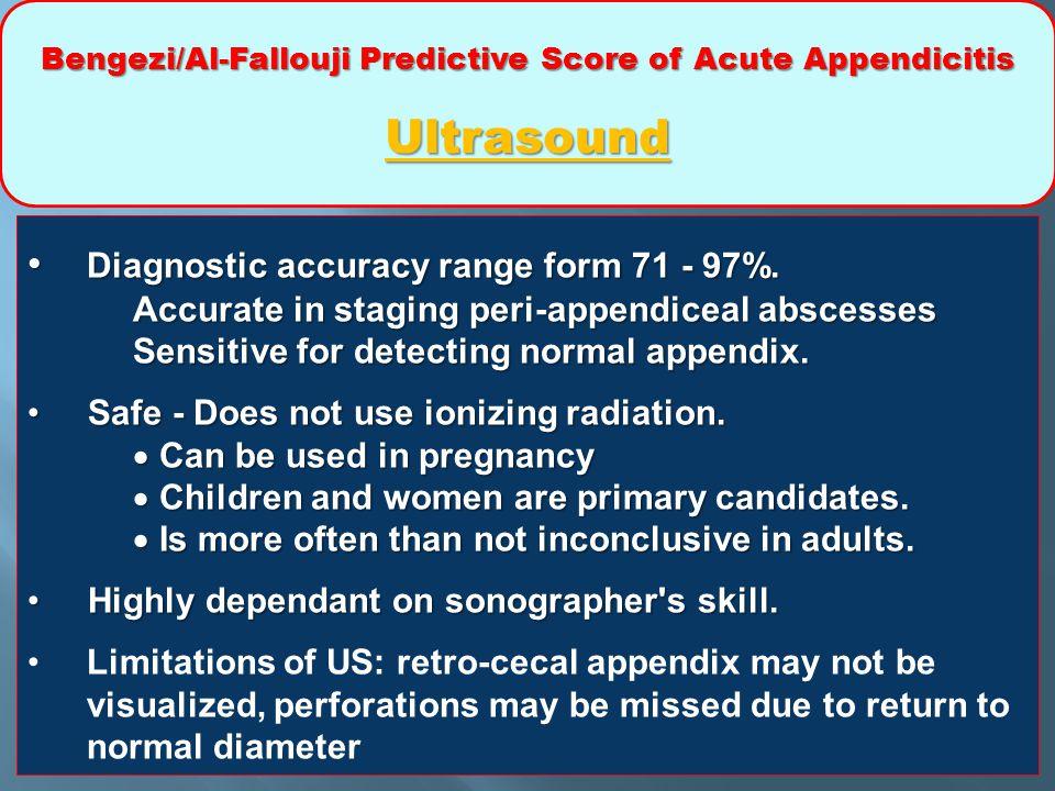 Bengezi/Al-Fallouji Predictive Score of Acute Appendicitis Ultrasound