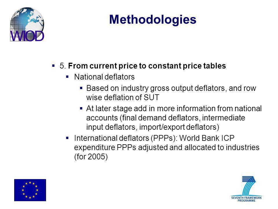 Methodologies 5. From current price to constant price tables