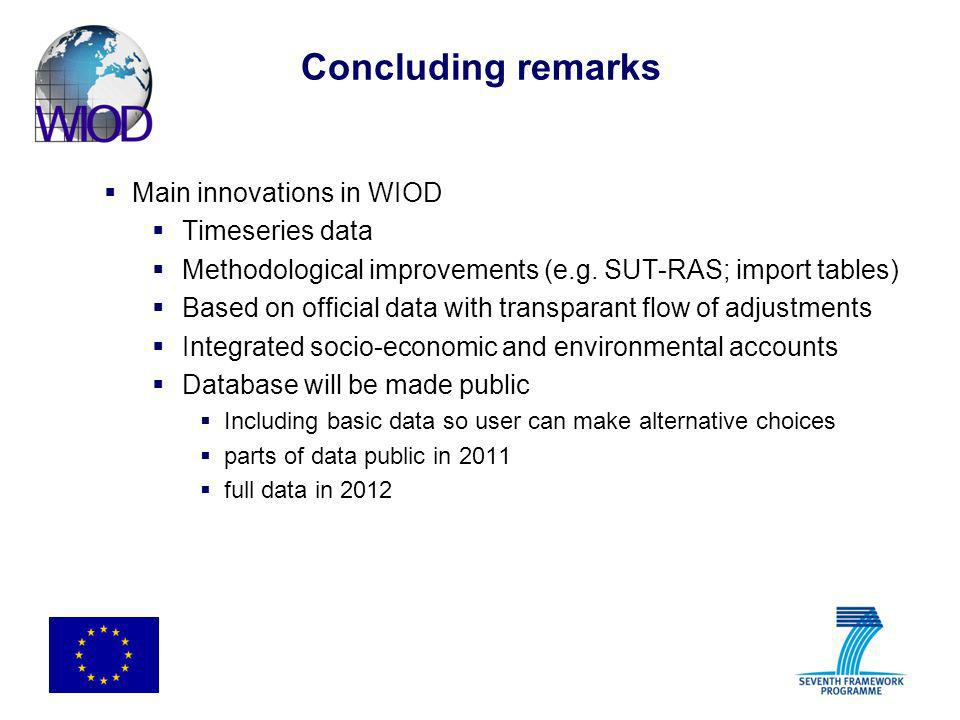Concluding remarks Main innovations in WIOD Timeseries data