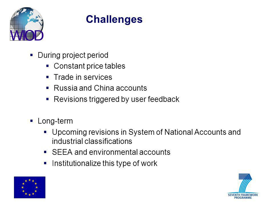 Challenges During project period Constant price tables