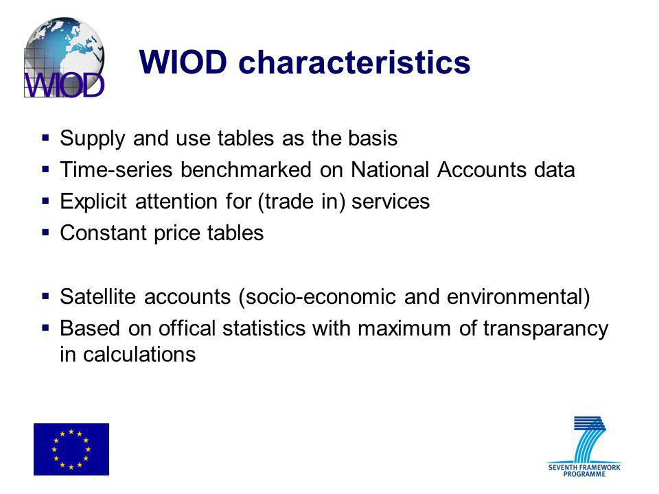 WIOD characteristics Supply and use tables as the basis