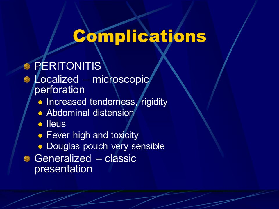 Complications PERITONITIS Localized – microscopic perforation