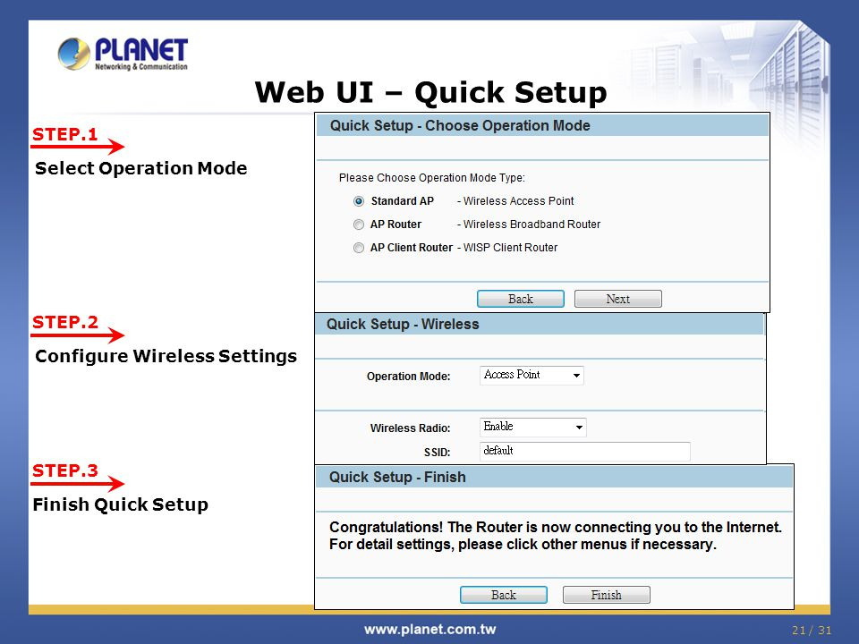 Web UI – Quick Setup STEP.1 Select Operation Mode STEP.2