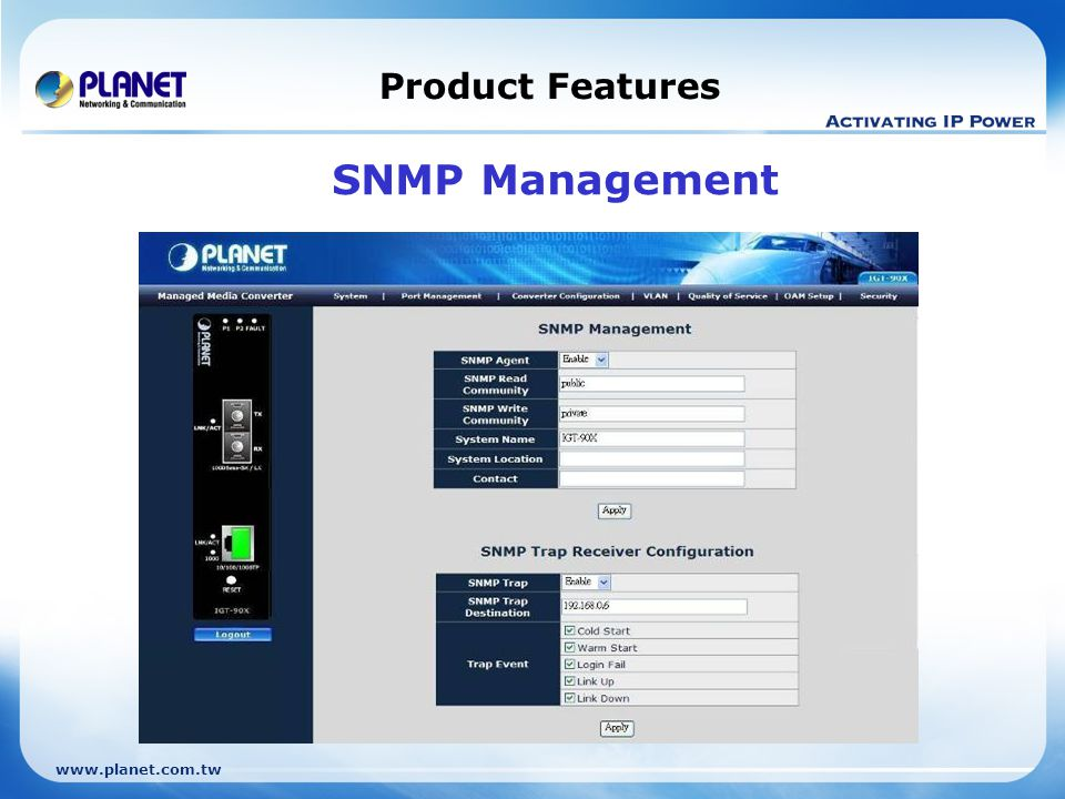 Product Features SNMP Management